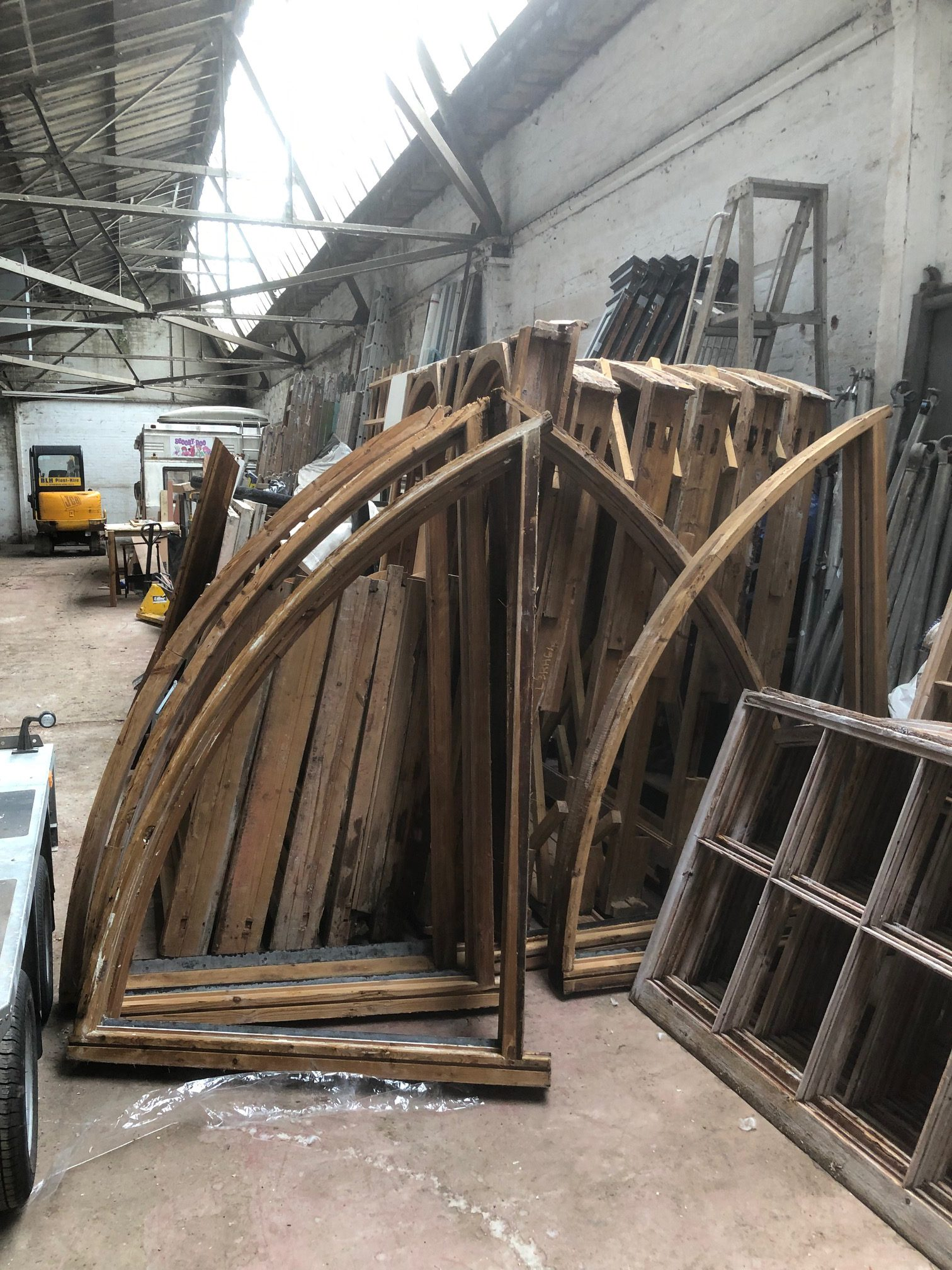 beautiful window frames - paint stripped ready to return to site in Edinburgh